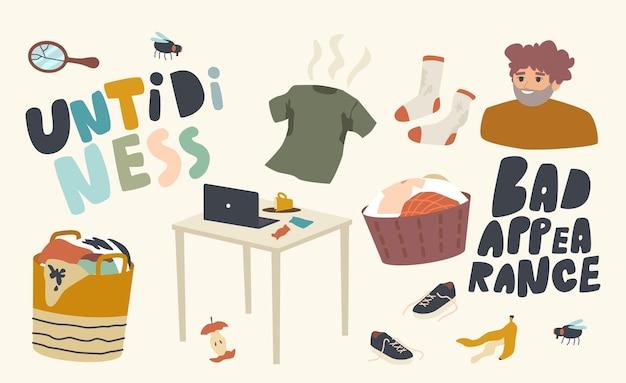 아이콘 어수선함, 나쁜 모양 테마의 집합입니다. 얼룩이 있는 더러운 옷, 린넨이 든 바구니, 세탁을 위한 의류 더미, 쓰레기, 쓰레기 및 작업 테이블의 엉망. 선형 벡터 일러스트 레이 션