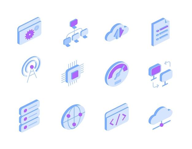 アイソメビューでインターネットとオンラインサービスのアイコンのセット。テクノサイン-グローバル接続、クラウドストレージ、データ転送、設定、ドキュメント、wifiアクセスポイント、チップ、コーディングシンボル