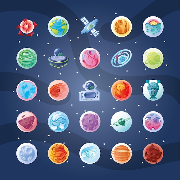 惑星や小惑星のイラストデザインとアイコンのセット