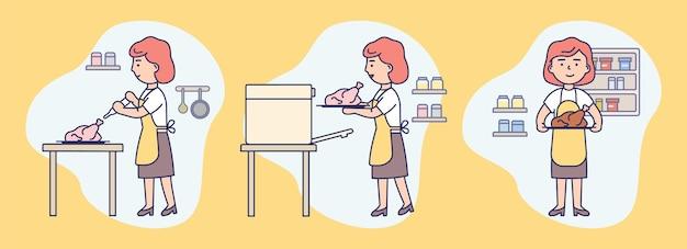 Набор иконок с женщиной в фартуке