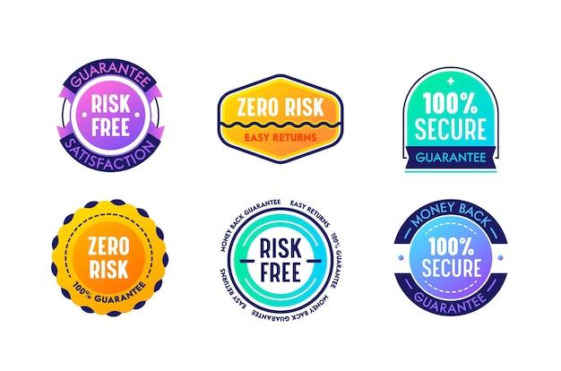アイコンのセットゼロリスク簡単返品保証満足度、商用ラベル、バナー。分離されたマーケティングプロモーション証明書、シールスタンプ、優れた製品保証エンブレム。ベクトルイラスト