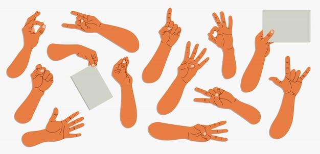 그림 된 남자 손의 집합입니다. 다양한 제스처. 손 세고, 종이 들고. 유행 그림 흰색에 설정합니다. 웹 및 인쇄 유행 손의 컬렉션입니다.