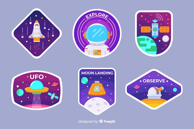 Набор иллюстрированных космических стикеров