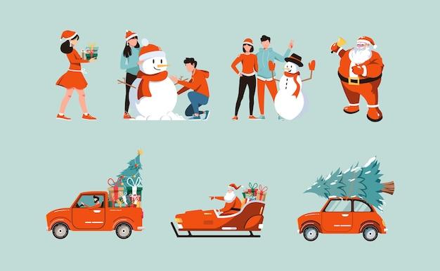 Набор иллюстраций рождественских персонажей