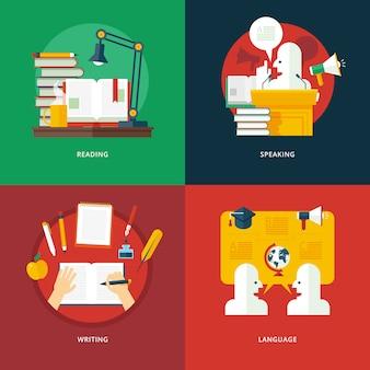 リーディング、スピーキング、ライティング、言語レッスンのイラストのコンセプトのセット。教育と知識のアイデア。雄弁で雄弁な芸術。 Premiumベクター