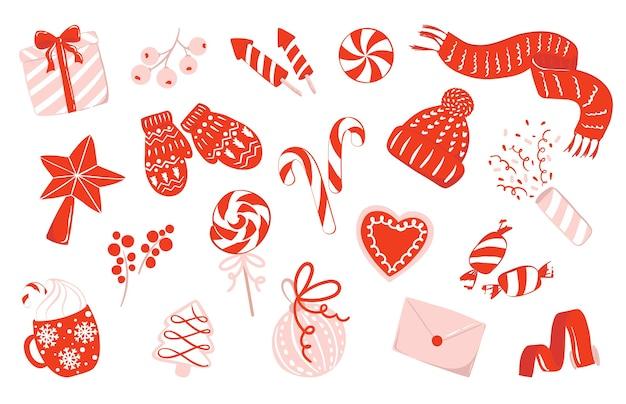 사탕, 딸기, 장식품, 빨간색, 흰색 및 핀 색상의 니트 옷으로 크리스마스에 대 한 그림의 집합입니다. 축하 개념. 축제 클립 아트. 격리 된 새 해와 크리스마스 그림