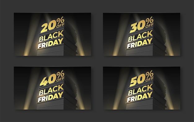 Набор иллюстраций для продажи и скидки черная пятница с объемными буквами, прожектор здания. скидка двадцать, тридцать, сорок, пятьдесят процентов. векторный шаблон для баннера, флаера, магазина, карт, бизнеса