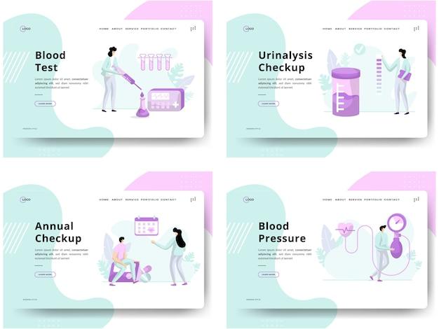 Набор иллюстраций проверка состояния здоровья, анализ крови на концепции, проверка мочи, ежегодная проверка, артериальное давление, можно использовать для разработки веб-сайтов