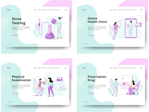 イラストのセット健康診断、概念ウイルス検査、オンライン健康チェック、身体検査、処方薬は、ウェブサイトの開発に使用できます