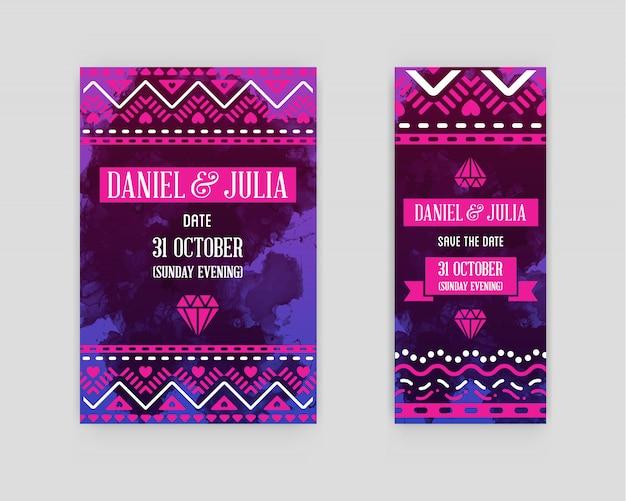 結婚式のカードへのイラストの招待状のセットです。背景に水彩アートスタイルのコレクション