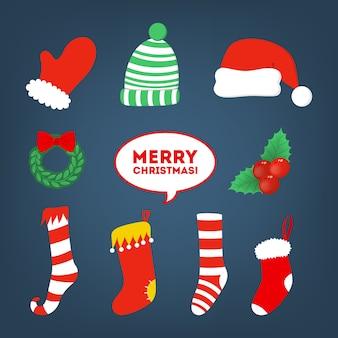 Набор иллюстраций рождественских и новогодних наклеек. красочные элементы рождественских украшений и текстовых баннеров для вечеринок и онлайн-чатов. значок каракули