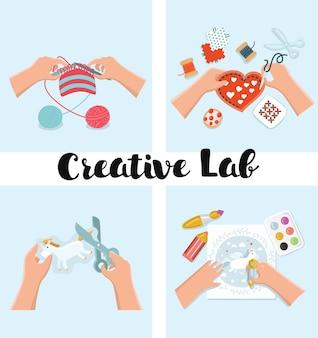 キッズアートの作業プロセスのイラストのセット。子供の創造性のイラスト。