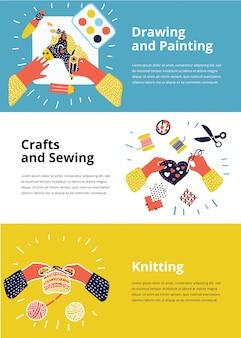Набор иллюстраций детского художественно-рабочего процесса. вид сверху творческими руками. баннер, флаер для детских уроков рисования или школы. вязание, шитье, вышивка, рисунок, роспись, поделки, аппликация