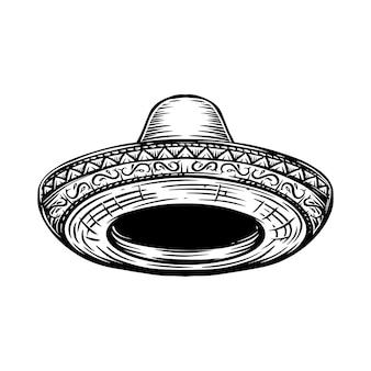 メキシコのソンブレロのイラストのセットです。ポスター、tシャツ、エンブレム、サインのデザイン要素。ベクトルイラスト