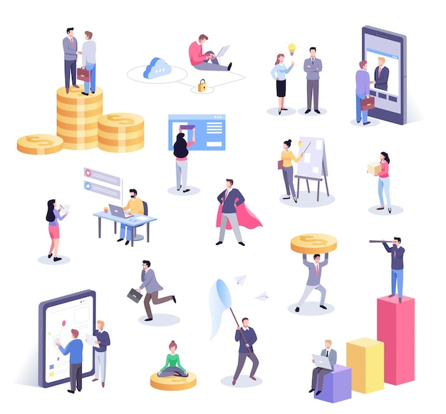 Набор иллюстраций офисных работников, работающих вместе и мобильных устройств