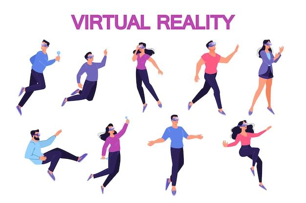 가상 현실 안경을 사용하는 사람들의 그림의 집합입니다. 교육 및 게임 시뮬레이션을위한 vr 기술의 개념. 미래의 엔터테인먼트 방식.