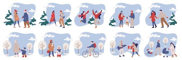 Набор иллюстраций людей в теплой зимней одежде. счастливые зимние развлечения с семьей. люди гуляют на улице в холодное время года.