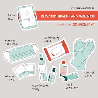 旅行消毒剤キットのイラストのセットです。健康とウェルネスの向上。細菌、バクテリア、ウイルスから身を守りましょう。コロナウイルス(covid-19)。ステッカーセット。