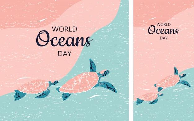 Instagramの形式で世界海の日のためのカメのカップルとイラストのセット