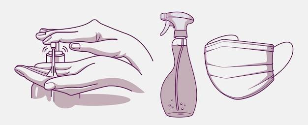 위생 및 감염 예방을위한 삽화 세트 손, 소독제 및 의료용 마스크를 씻으십시오.