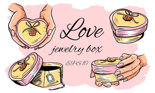 Набор иллюстраций. шкатулка в форме сердца. открытая коробка, в руках. изолированная иллюстрация