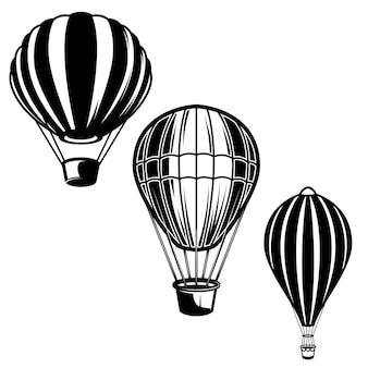 気球のイラストのセットです。ロゴ、ラベル、エンブレム、記号の要素。画像