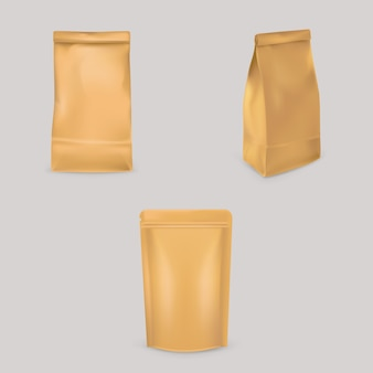 Set of illustrations of brown paper bags