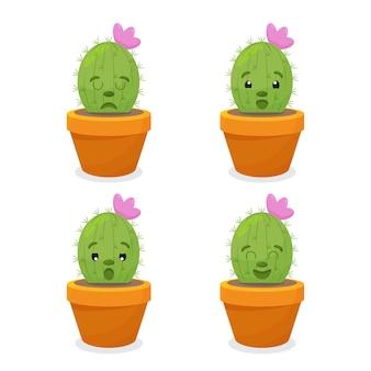냄비와 식물에 재미있는 얼굴을 가진 귀여운 만화 선인장의 삽화 세트