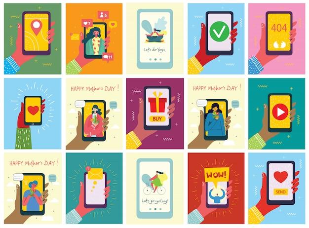 画面に新しいメッセージが表示されるスマートフォンを持っている手とスマートフォンを持つ人々のイラストのセット。チャット、メールメッセージング、sms、webサイトのモバイルコンセプト、フラットデザインのwebバナー