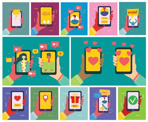 画面に新しいメッセージを持つスマートフォンを持っている手のイラストのセットです。チャット、メールメッセージング、sms、webサイトのモバイルコンセプト、フラットデザインのwebバナー