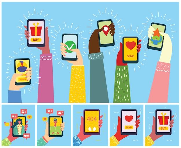 화면에 새 메시지와 함께 스마트 폰 들고 손의 삽화의 집합입니다.