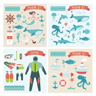 海の旅の冒険家、海の生き物、クルーズ、ダイビングの要素のイラストのセット