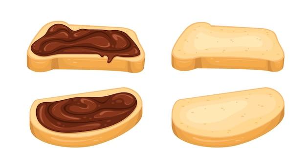 Набор иллюстраций с бутербродами с шоколадной пастой и ломтиками хлеба