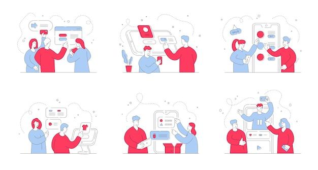 ショッピング中に現代のオンラインストアで注文するためにさまざまなデジタルデバイスを使用して現代の男性と女性のイラストのセット。スタイルイラスト、細い線画