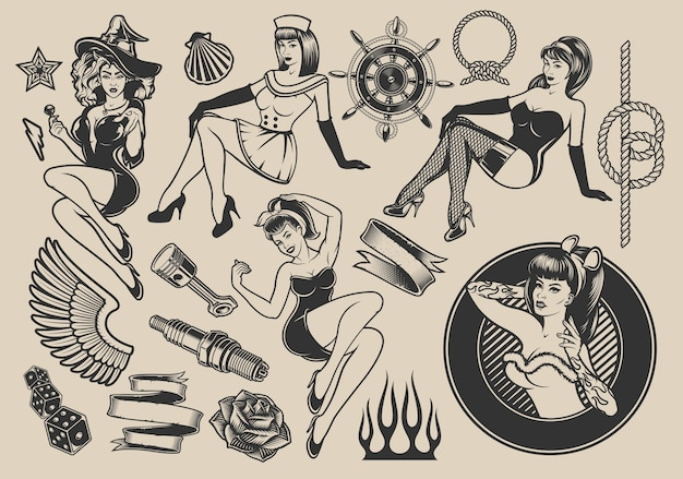 핀-업 소녀, 해양 디자인, 로커 빌리, 할로윈 테마에 대한 요소가있는 소녀와 삽화의 집합입니다.