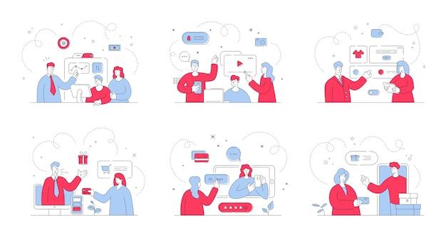 Набор иллюстраций с современными мужчинами и женщинами, которые смотрят и слушают рекламные предложения от менеджеров во время совершения покупок в интернете. стиль иллюстрации, тонкая линия искусства