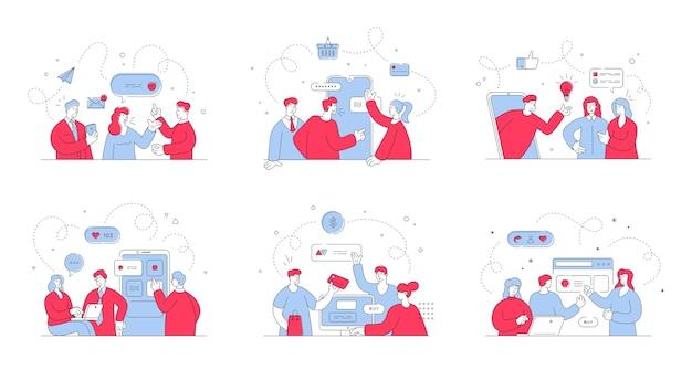 ウェブサイトやソーシャルメディアでのオンラインショッピング中に男性と女性のクライアントと通信するオンラインアシスタントのイラストのセット。スタイルイラスト、細い線画