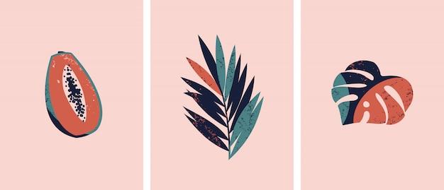 Набор иллюстраций с тропическими фруктами и листьями.