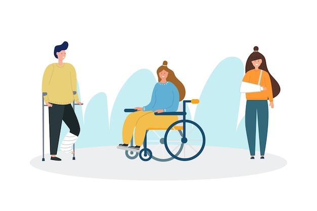Набор изображений мужчины с гипсом на ноге девушки в инвалидной коляске женщина со сломанной рукой