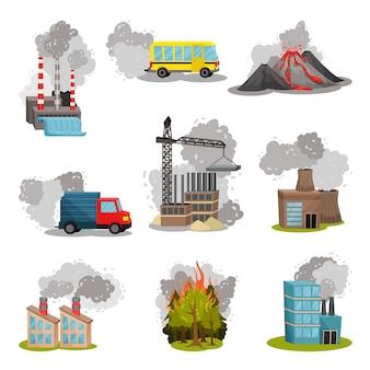 Набор изображений различных источников загрязнения воздуха