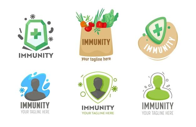 의료 서비스에 대한 면역 로고 세트입니다. , 건강 관리 아이콘 모음, 건강 신체 방어, 질병 예방