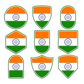 インドの旗バッジのセット