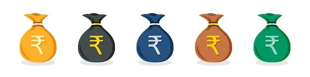 평면 디자인에 다른 색상의 인도 루피 돈 가방 아이콘 세트