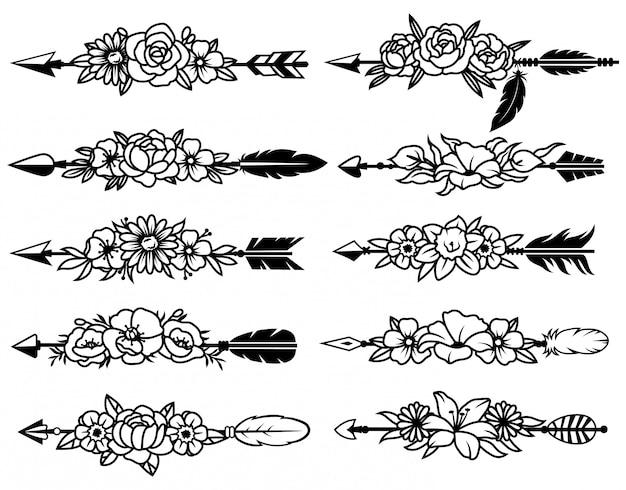 Набор индийских стрел с цветами. коллекция различных этнических племенных стрел с цветочным букетом.