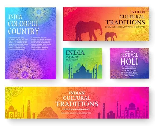 Набор концепции иллюстрации орнамент индийской страны