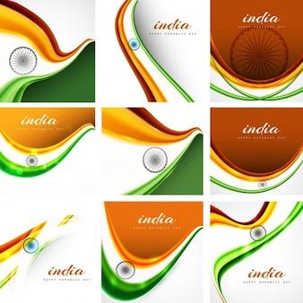 인도 국기 배경 세트