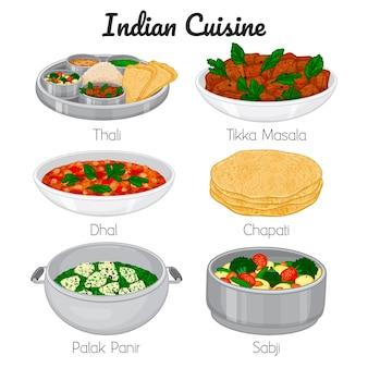 Набор индийских блюд мультяшном стиле иллюстрации