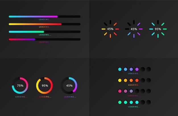 표시기 세트. 진행 로딩 바. 진행 상황, 웹 디자인 템플릿, 인터페이스 업로드.