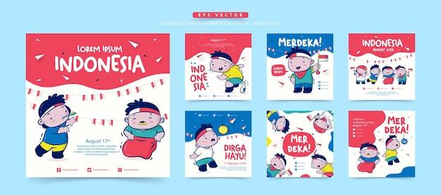 8月のlombaまたは伝統的なゲームでのインドネシア独立記念日のソーシャルメディア投稿のセットmerdekaは独立したdirgahayuを意味しますお祝いを意味します