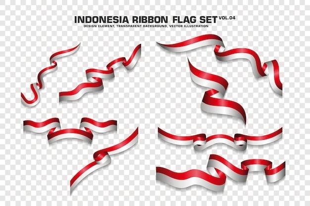 인도네시아 리본 플래그, 디자인 요소의 집합입니다. 투명한 배경에 3d입니다. 벡터 일러스트 레이 션